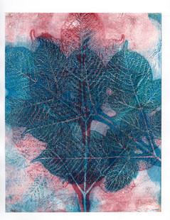 Blue and red birch branch print