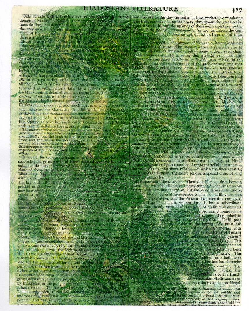 Oak Leaves print on an encyclopedia page