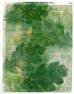 Oak Leaves print on an encyclopedia page
