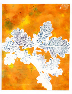 Bright Yellow and Blue Oak Branch Print