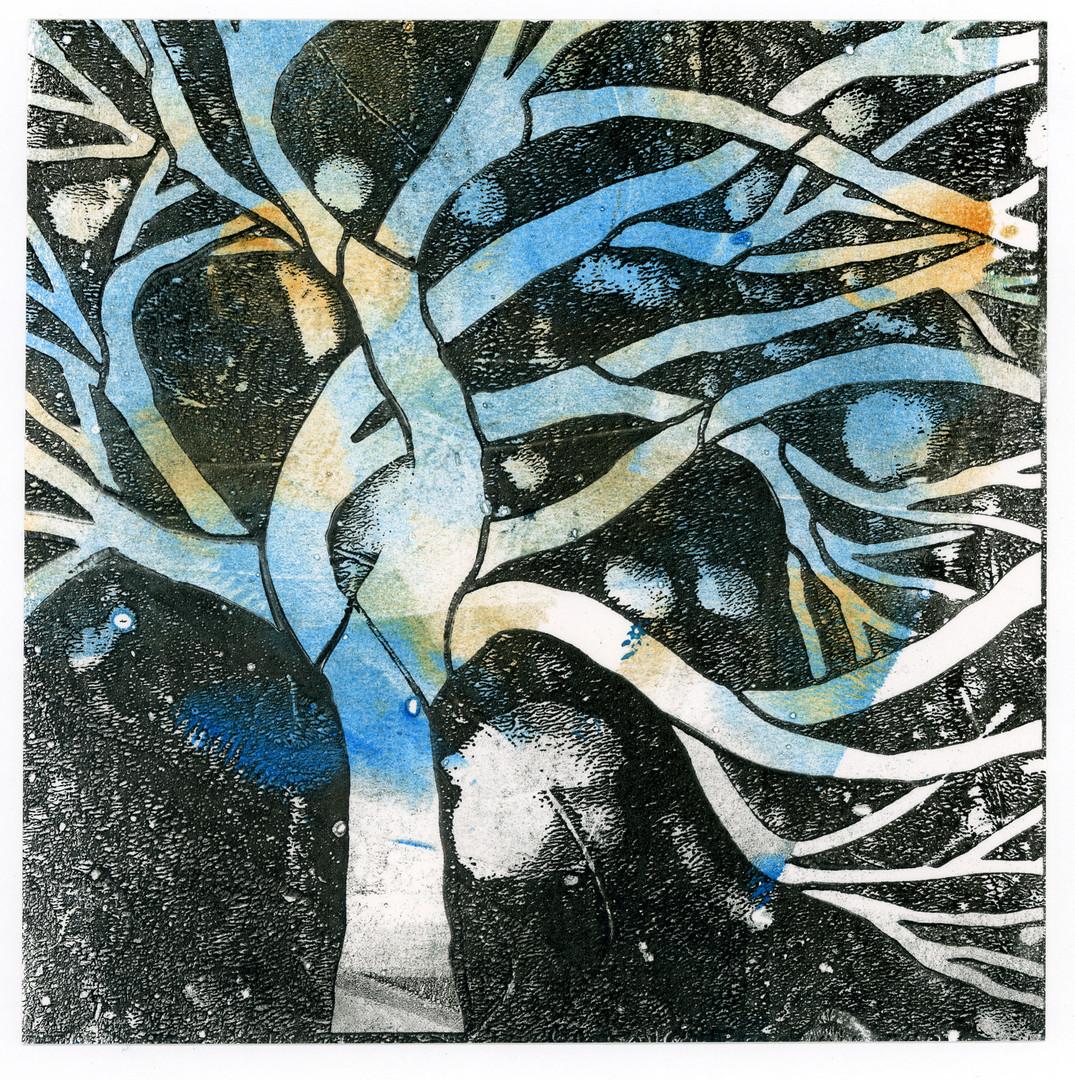 Blue, Gold and Black Tree Art Print