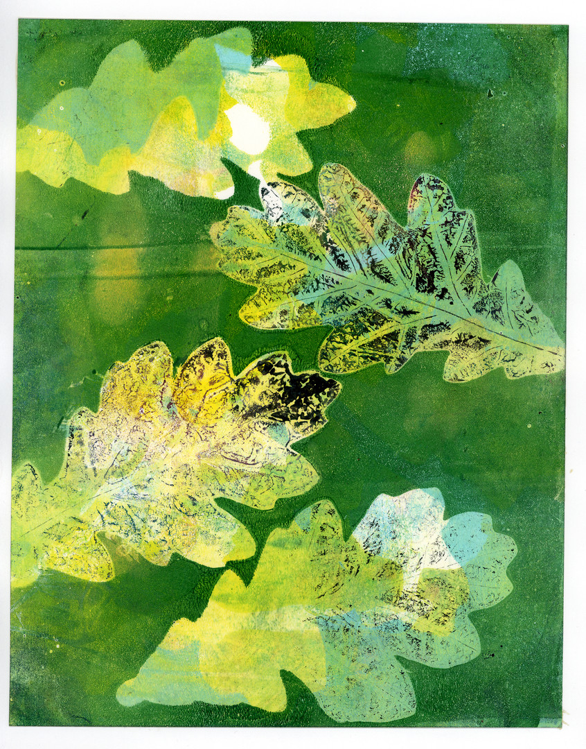 Green and Yellow Oak Leaf Print