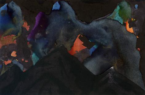 Blue, Orange and Teal Mixed Media Print