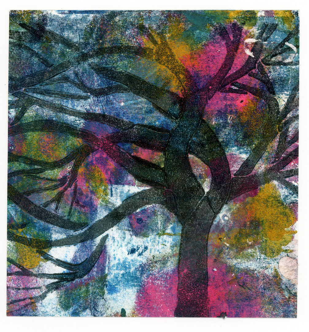 MUlticoloured Tree Wall Art Print