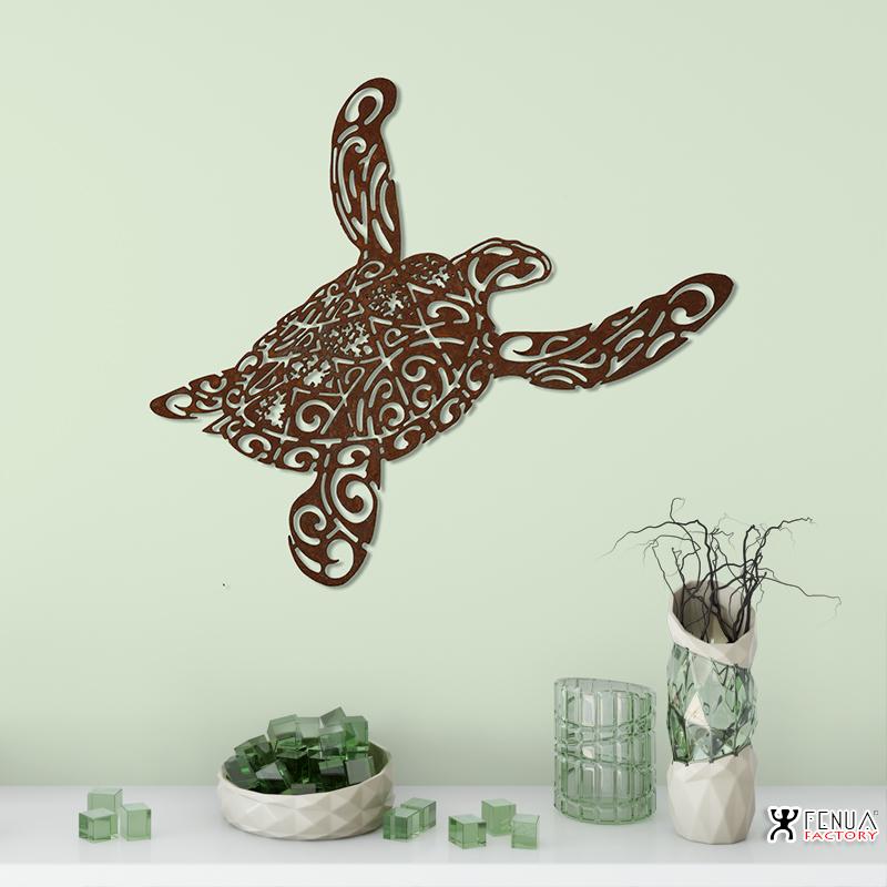 sculpture_design_Tatouage_tortue_polynésien_tribal_avec_tiki_en_acier__buffet_by_pierre_martinez
