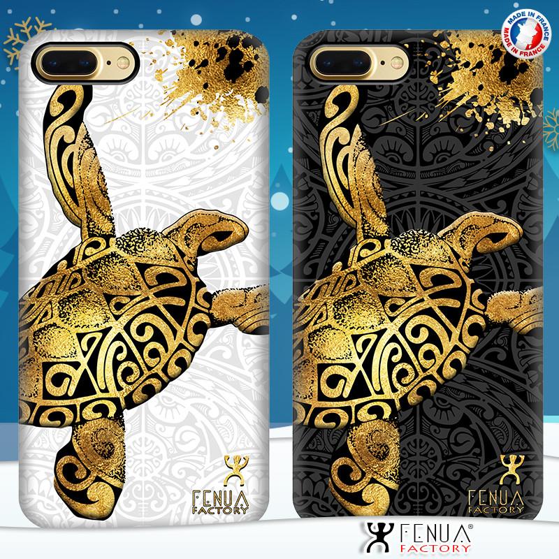 Coque de smartphone apple iphone 7+ tatouage polynésien gold tortue
