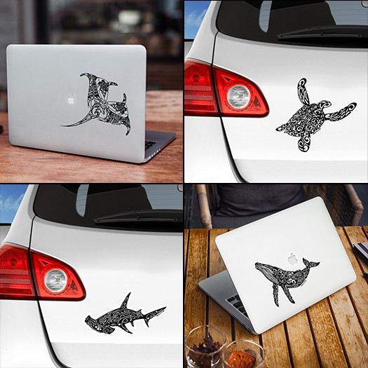 sticker autocollant raie manta tortue baleine à bosse et requin