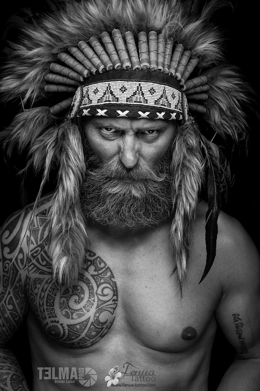 "tatouage polynésien bras épaule pec "" indian's spirit """