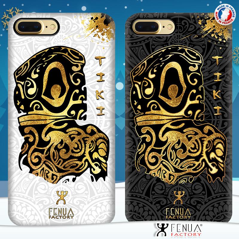 Coque de smartphone apple iphone 7+ tatouage polynésien gold tiki