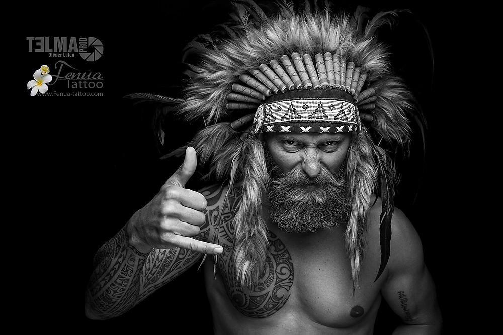 """Tatouage polynésien tribale bras épaule pec """" le regard qui tue """""""