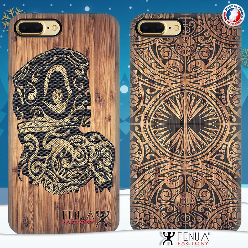 Coque de smartphone apple iphone 7+ tatouage polynésien tribal tiki