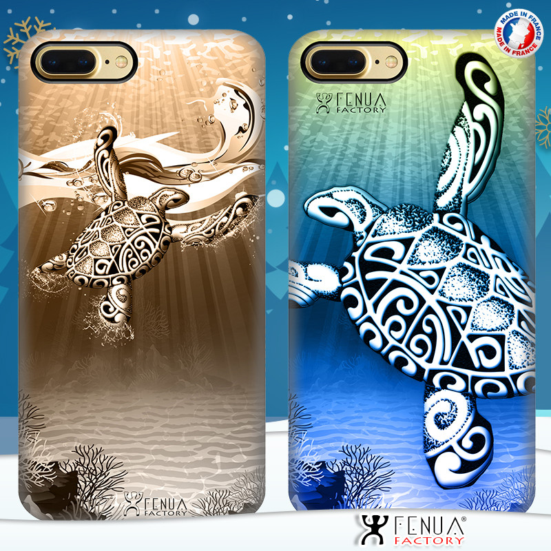 Coque de smartphone apple iphone 7+ tatouage polynésien tortue