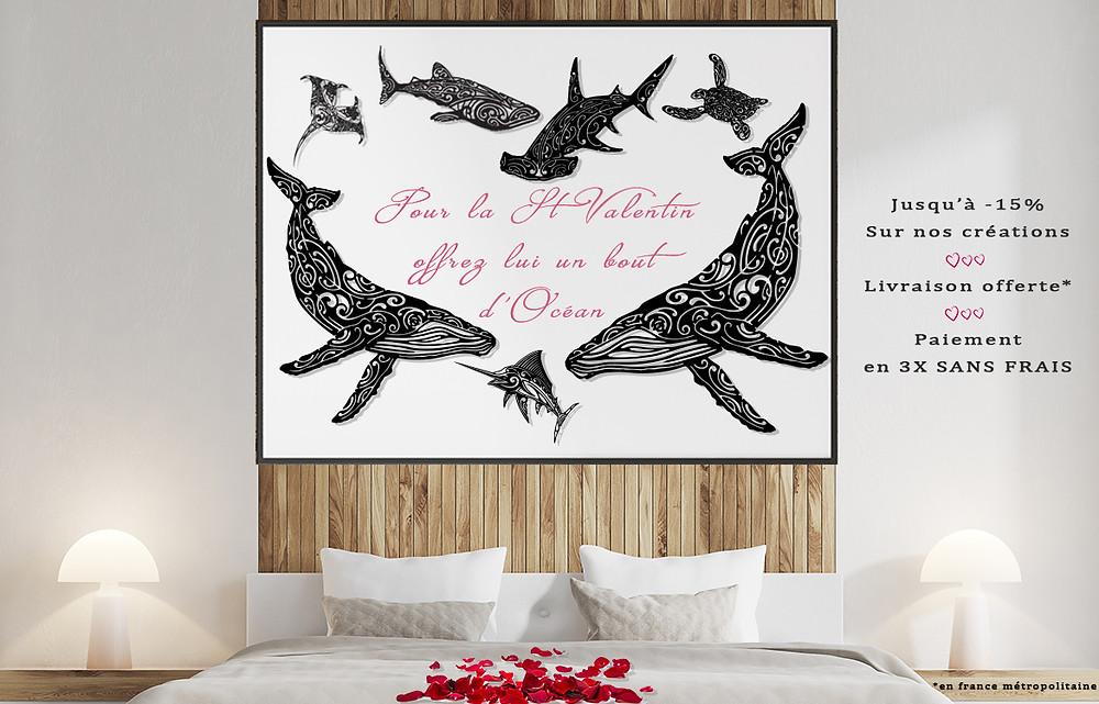la st valentin avec fenua factory  création murale en métal sur le monde marin