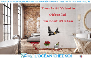 Promotion spécial St valentin sur fenua Factory : jusqu'à -15 de réduction sur nos déco murales