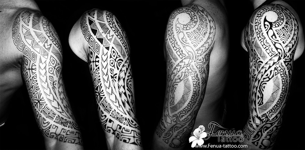 Photo de tatouage tribal polynésien bras