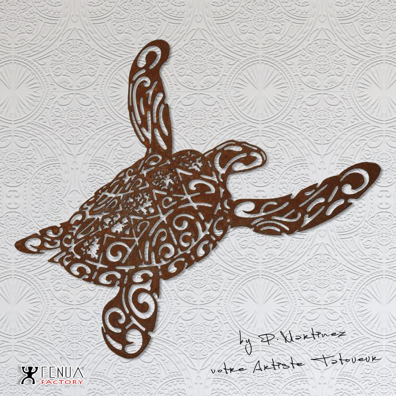 sculpture_design_Tatouage_tortue_polynésien_tribal_avec_tiki_en_acier_by_pierre_martinez