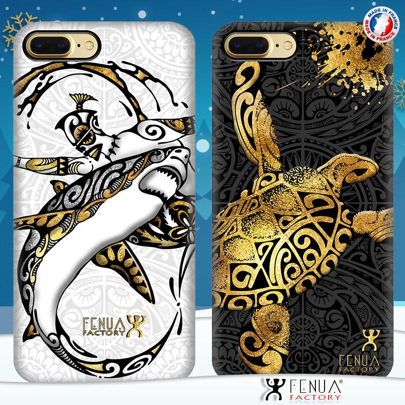 Coque de smartphone apple iphone 7+ tatouage polynésien gold shark surfing