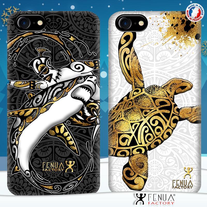 Coque de smartphone apple iphone 7+ tatouage polynésien gold