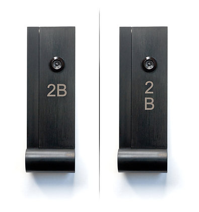 AP Door Knocker with Door Viewer in Black finish, side by side of Arial laser engraving done horizontally and vertically