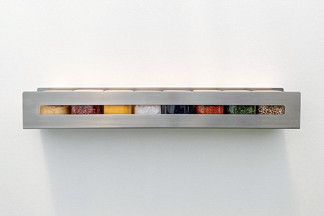 Aperture Spice Rack in stainless steel, straight on view
