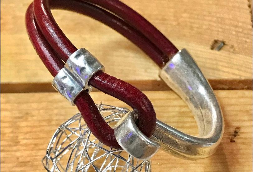 Bracelet demi-jonc / cuir rond