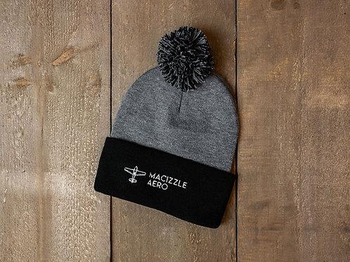 Grey/Black Pom-Pom Knit Beanie