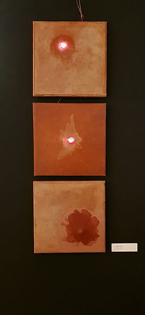 """""""Piece of..."""" Three experimental silicone paintings. Silicone, recycled electronic parts, 35x35 cm, BWA Olsztyn 2017"""