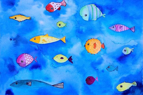 Bunte Fische auf Perlmuttpapier