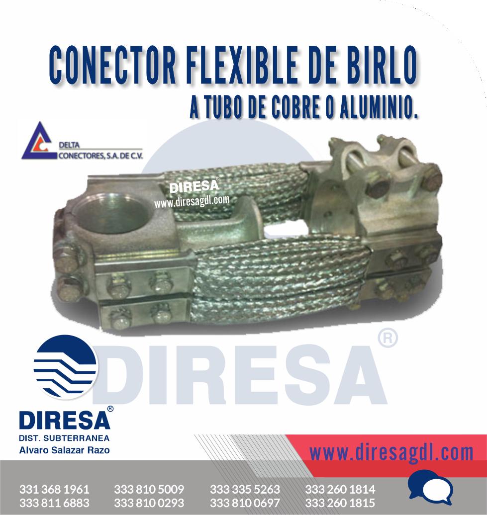 Conector Flexible de Birlo a Tubo de Cobre o Aluminio