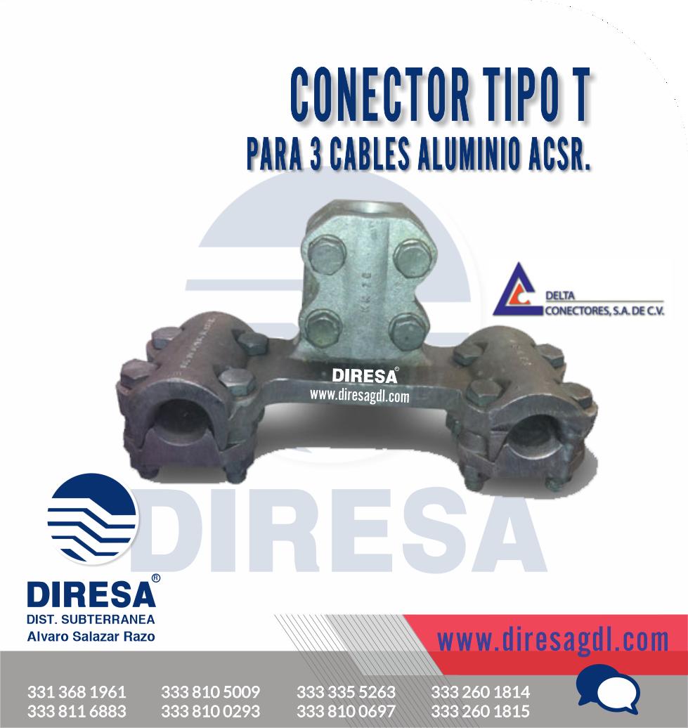 Conector Tipo T para 3 Cables Aluminio ACSR