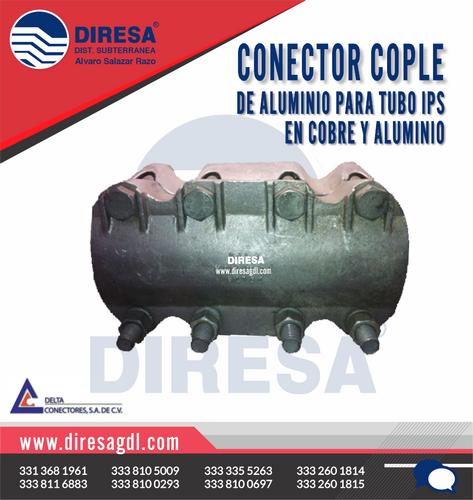 Conector Cople de Aluminio para Tubo IPS en Cobre y Aluminio