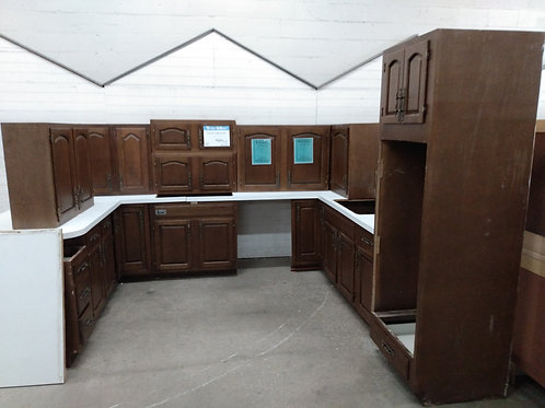 Kitchen Cabinet Set - Brown with laminate tops, 15pc