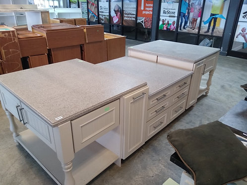 Cabinet Set - White with gray corian tops, 9pc