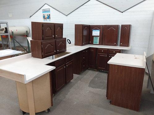 Kitchen Cabinet Set - Dark brown with white laminate tops, 13pcs