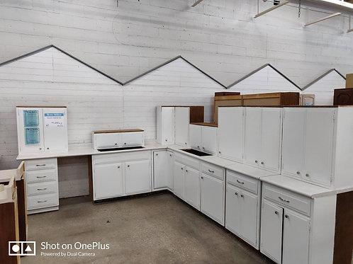 Kitchen Cabinet Set - White with white laminate tops, 15pcs