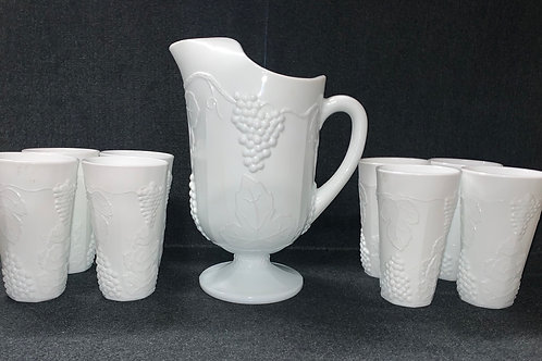"Westmoreland Milk Glass ""Harvest Grape"" Pitcher and Tumbler Set"