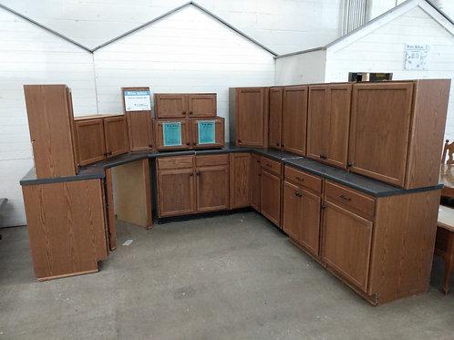 Kitchen Cabinet Set - Brown with dark laminate tops, 16pc