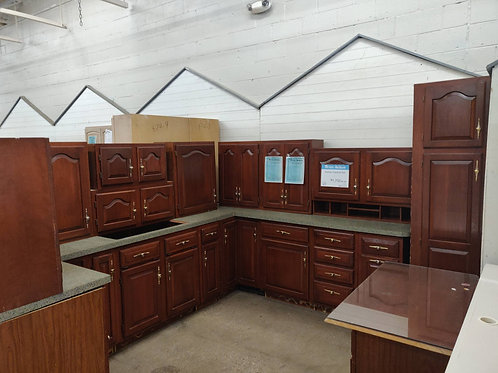Kitchen Cabinet Set -Brown with gray laminate tops, 19 pc