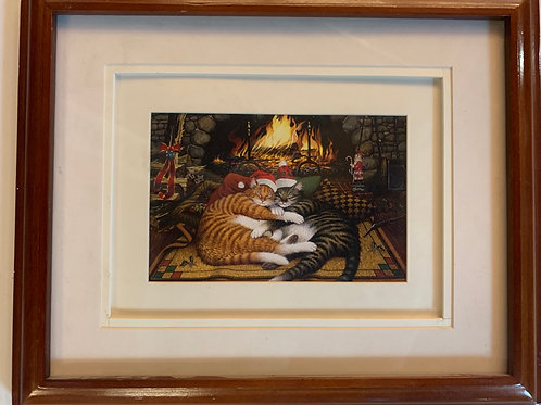 Christmas Cats by Fireplace Art