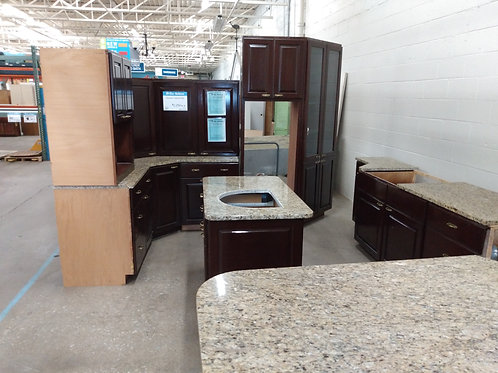 Kitchen Cabinet Set - Brown with tan granite tops, 16pc