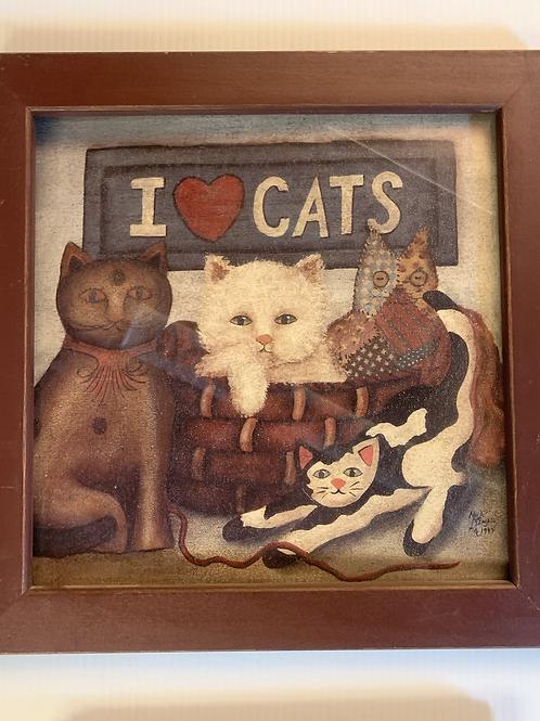 I Love Cats Framed Art