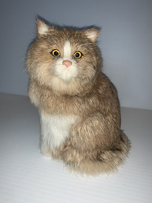 Cat Figurine with Soft Fur