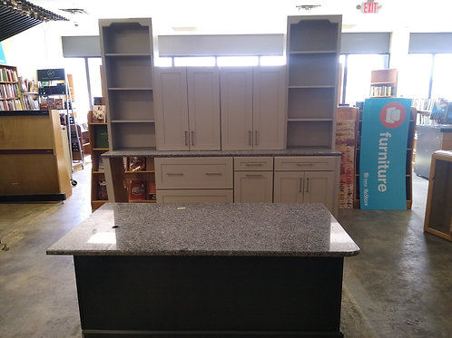 Office Cabinet Set - Gray and Black with gray granite tops, 8 pc