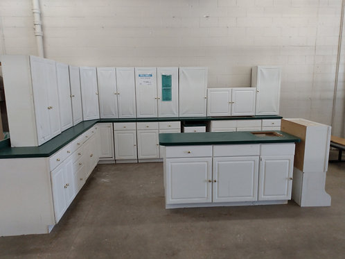 Kitchen Cabinet Set - White with green laminate tops, 22pc