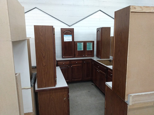 Kitchen Cabinet Set - Brown with two tone laminate tops, 15pc