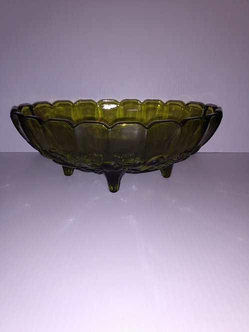"Vintage 1960s Indiana Glass Avocado Green Harvest 12"" Fruit Bowl"