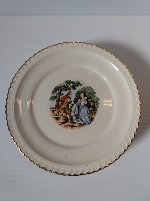"Harker Pottery Courting Couple 6 1/4"" Plates 22K Gold Trim 5 Pcs"