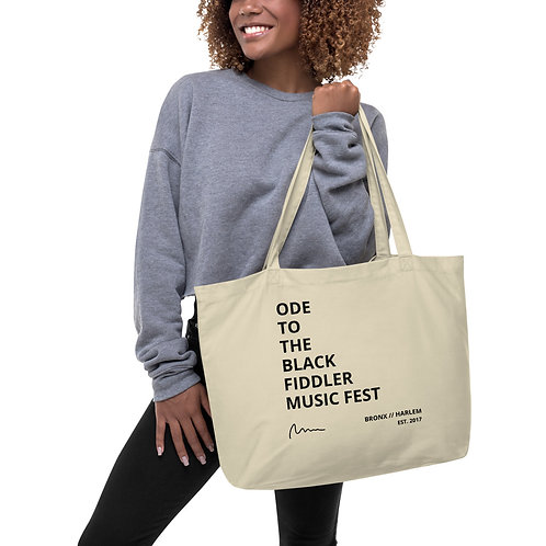 Large organic OBF Music Fest tote bag