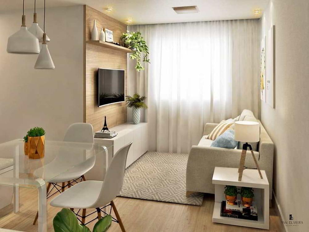 decoração para sala de apartamento pequeno