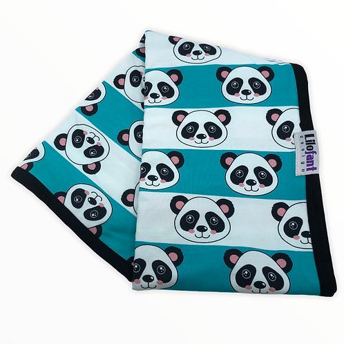 Mint randig panda - filt